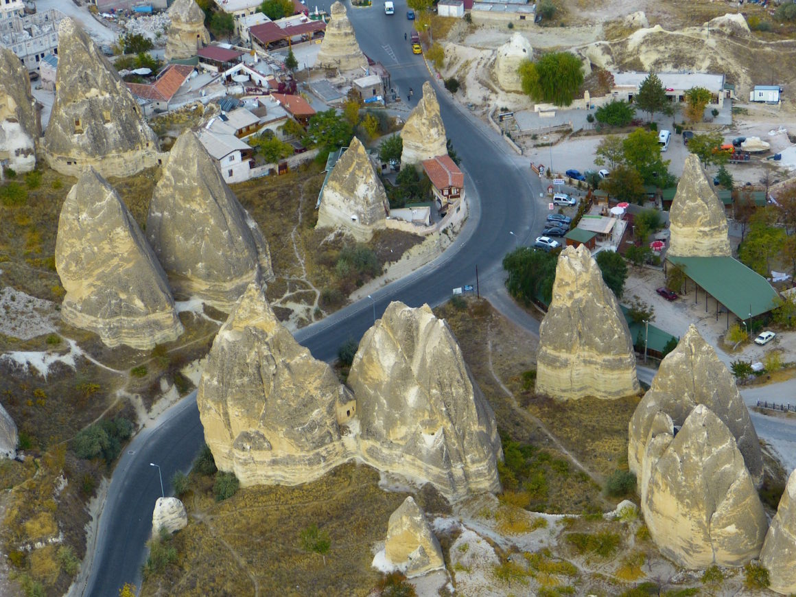An aerial view of Cliff Dwellings in Göreme